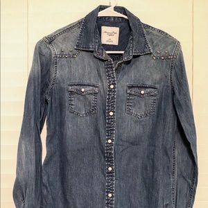 Pearl Snap Chambray Shirt With Studs